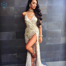 Ameision evening dress High Slit sexy halter sequin formal dresses elegant v-neck Tassel Halter floor-length skirt gown