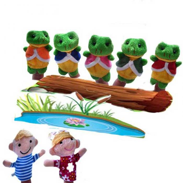 5 Pcs Frog Hen Mouse Animals Story Telling Finger Puppets 2