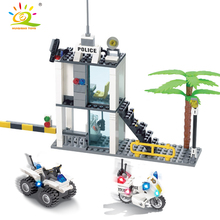 193pcs Police Motorcycle Police Station Building Blocks Set City Policeman Figures Bricks Toys for Children