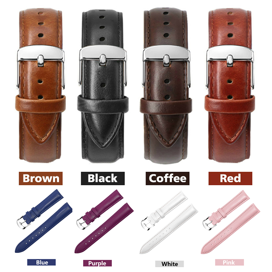 Leather Watch Strap Men Women Watch Accessories Unisex Watch Bracelets 22mm 20mm 18mm 16mm 14mm <font><b>12mm</b></font> Genuine Leather Watch Bands image