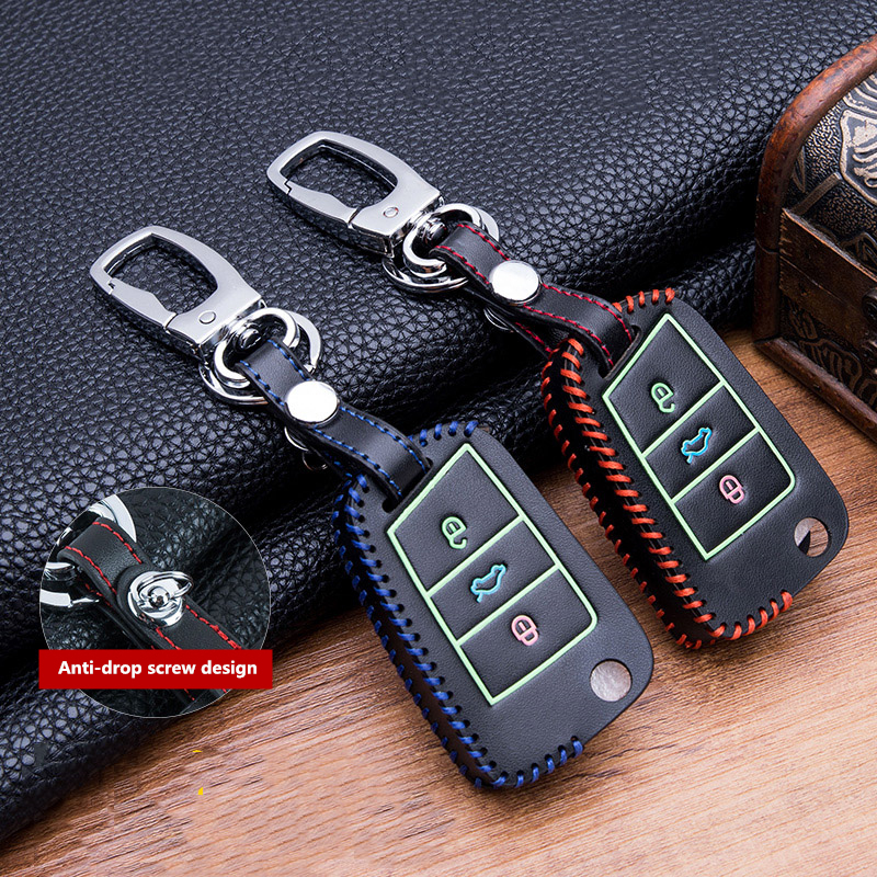 Ручная швейная светящаяся кожаная сумка для ключей чехол для VW Golf 7 mk7 Skoda Octavia A7 Polo Key Portection автомобильные аксессуары-in Футляр для автомобильного ключа from Автомобили и мотоциклы