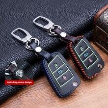 Cobertura de chave de couro luminoso, costura à mão, para vw golf 7 mk7 skoda octavia a7 polo acessórios automotivos,