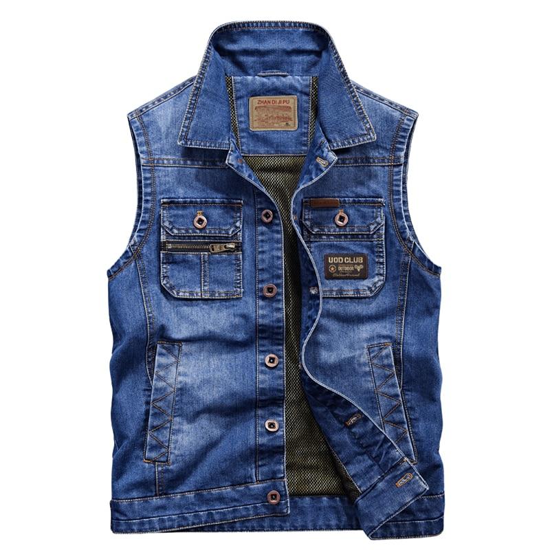 2019 Men Fashion European Style Cowboy Waistcoat Sleeveless Jacket Top Quality  Denim Jacket Men Jeans Vest Plus Size 5XL 6XL