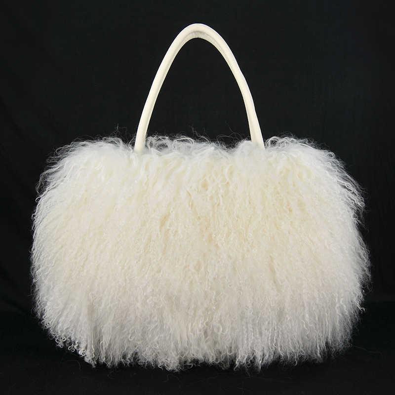 d28e54f1a4 Big White Mongolian Lamb Fur Handbags Handbag Bag Backpack Purse Purple Red  Grey Purple
