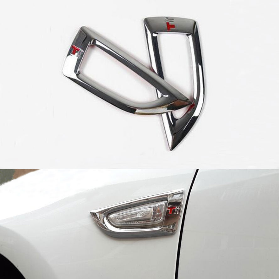BBQ@FUKA 2x ABS Car Chrome Front Turn Lamp Side Signal light Trim Styling Sticker Fit For Buick Excelle GT/XT 2015 Car Accessory
