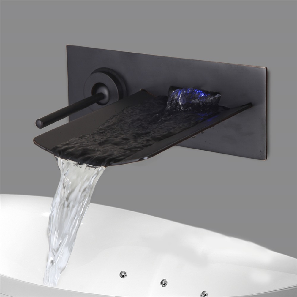 Antique Bronze Novel Design Waterfall Basin Faucet Oil Rubbed Single Handle Wall Mounted Hot Cold Water Pretty Basin Faucet oil rubbed bronze deck mounted waterfall hot and cold basin faucet dual handles