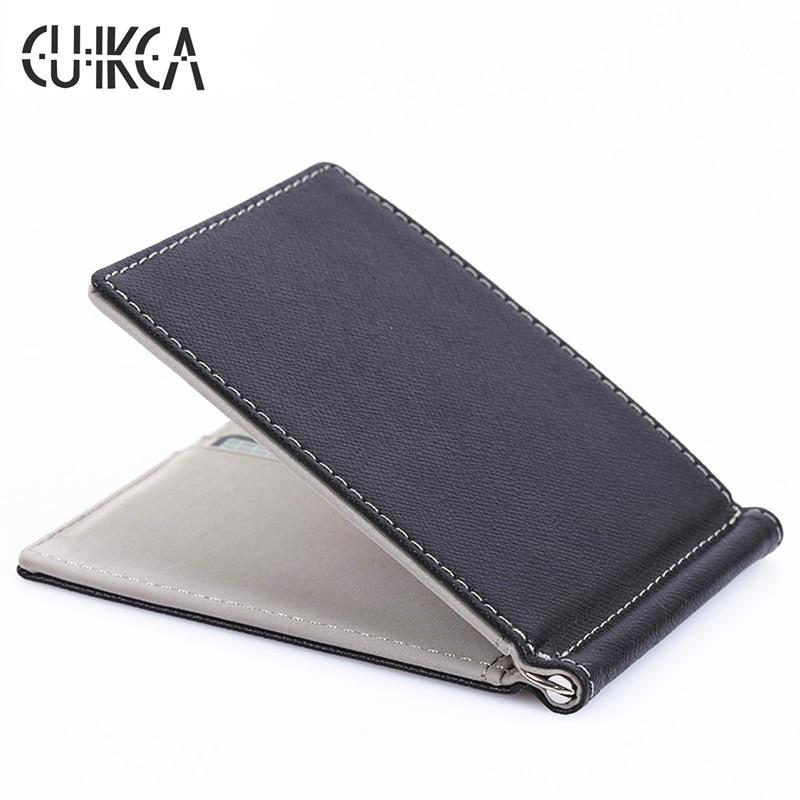 CUIKCA South Korea Style Money Clips Fashion Men Wallet Purse Ultrathin Slim Wallet Mini Leather Wallet ID Credit Card Cases ultrathin card style 3x pocket magnifiers 0 4mm 10 pack