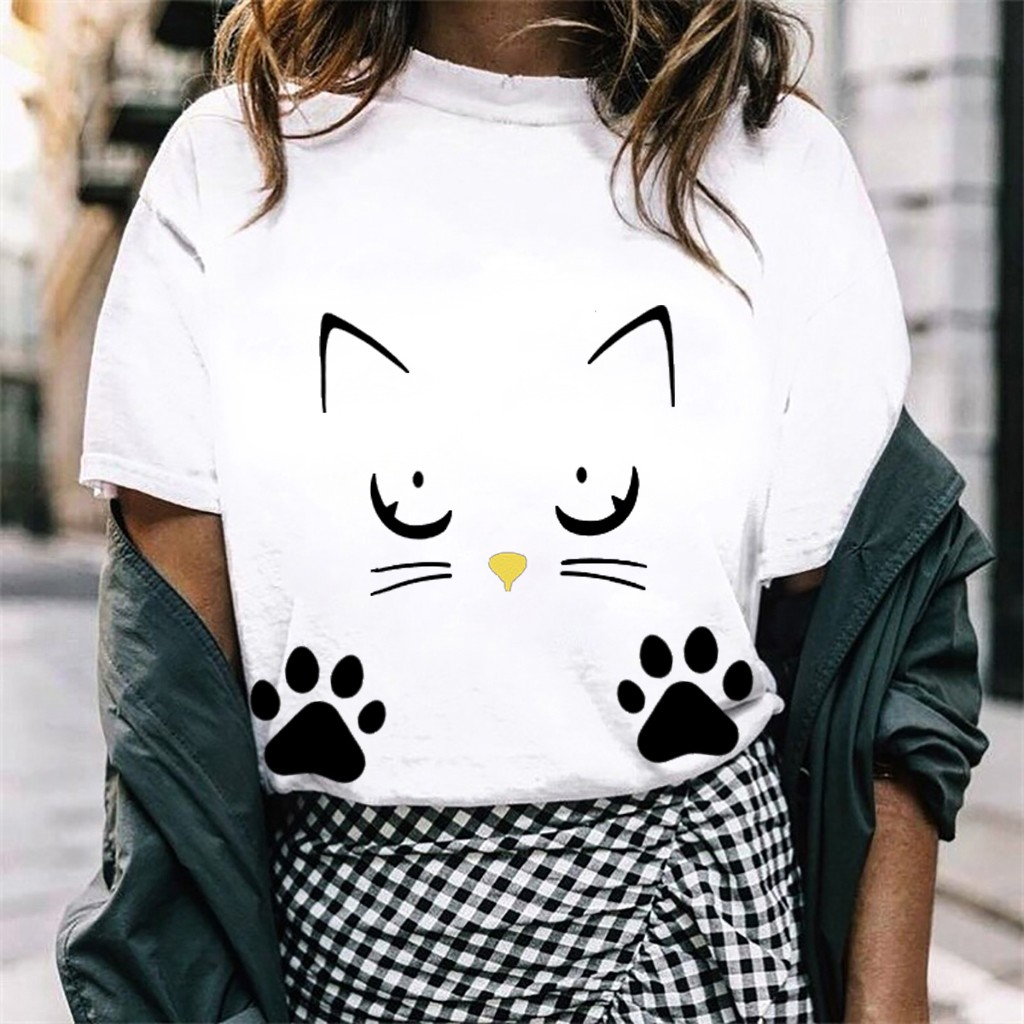 2020 Plus Size S-4XL Summer Fashion Cat Print Loose T-Shirt Women O-Neck Tee Tops Ladies Shirt Casual Short Sleeve Female Blusas