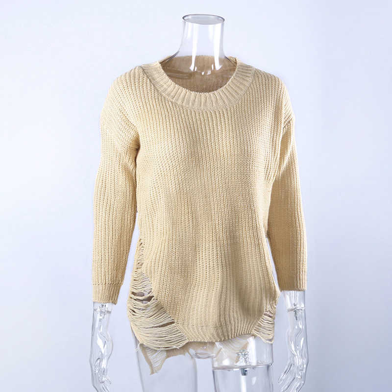 Winter Autumn Femme Ripped Out Holes Sweater Pullover Irregular Oversized  Lady Tricot Knitwear Sexy Sweater Dress e8425b9b2