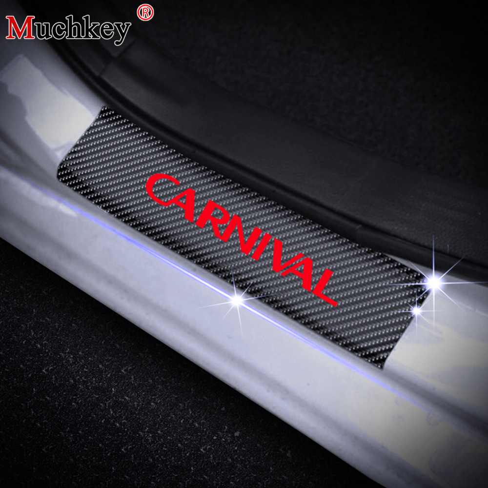 4PCS Car Door Sill Scuff Plate For KIA CARNIVAL Carbon Fiber Vinyl Sticker Car Door Sill Protectors Auto Parts Car Accessories