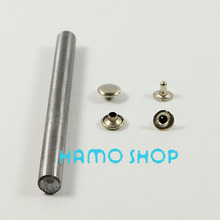 100pcs/lot Free Shipping Metal Fashion 9mm Silver Flat Rivet Spike Studs Circle Leather craft DIY Rapid With Tool