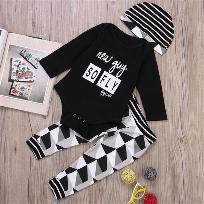 2017 Toddler Boy Outfit Clothes Print Romper Tops+Long Pants Trousers+Hat 1Set BFOF