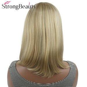 Image 4 - StrongBeauty ישר סינטטי פאות בינוני ארוך שיער עם פוני מסודר נשים פאת רבים צבעים