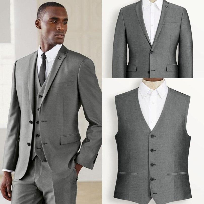 Custom Made 2017 Silver Gun Gray Groom Tuxedos Slim Fit