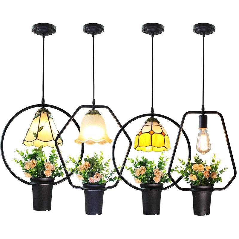 Ciel jardin suspension lampe Restaurant barre cuisine Tiffany lustre Loft décor industriel Tiffany abat-jour suspendu lustre