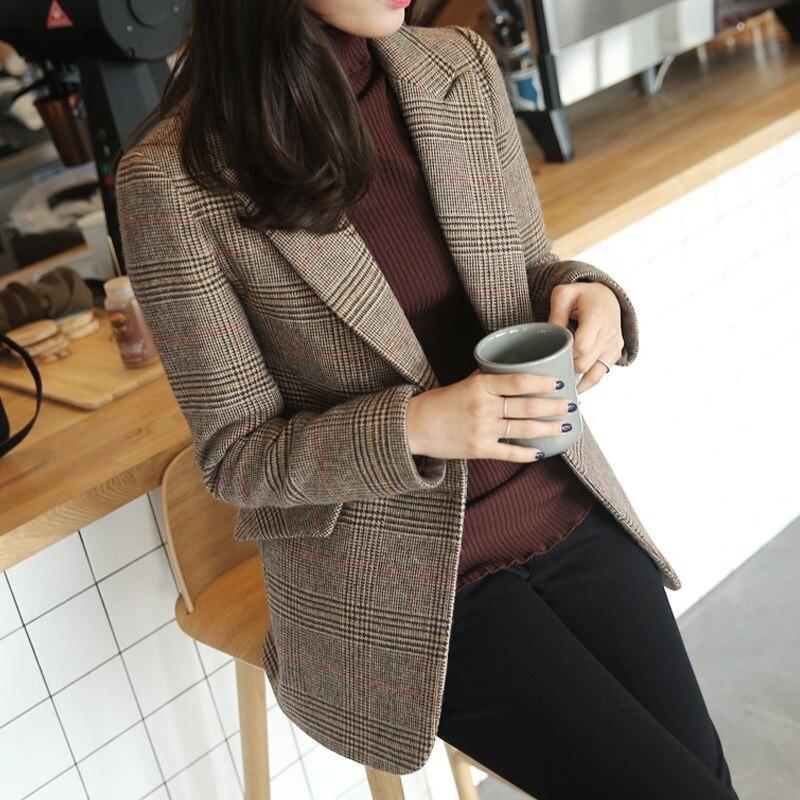 Long Coat Slim-fit Temperament Plaid Short Jacket