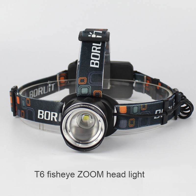 LED T6 fisheye ZOOM head light strong ight USB charging head lamp Outdoor fishing Hunting lamp search, patrol, daily carrying