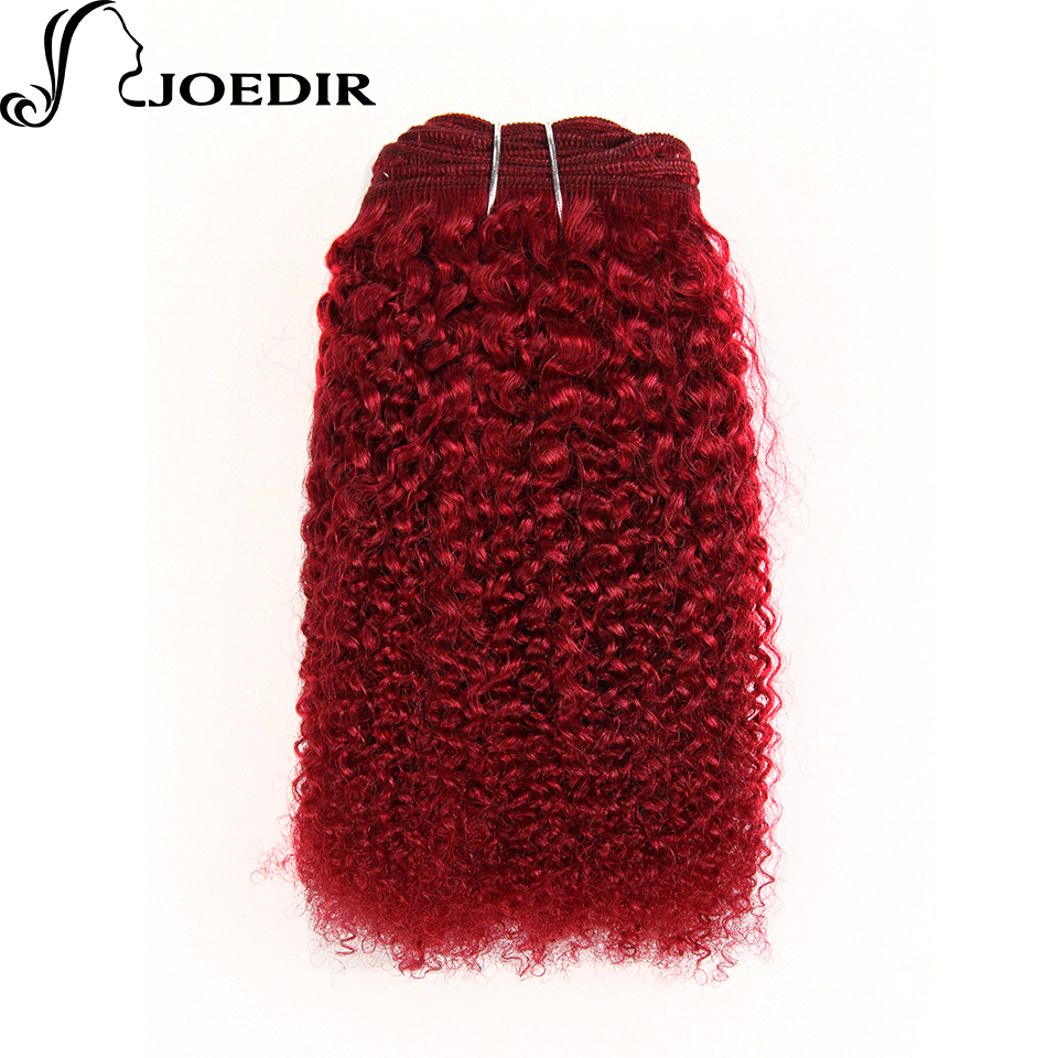 Joedir Pre-Colored Burgundy Hair Weave Afro Kinky Wave Human Hair Bundles 1PC Non-Remy Hair Extensions Burg#