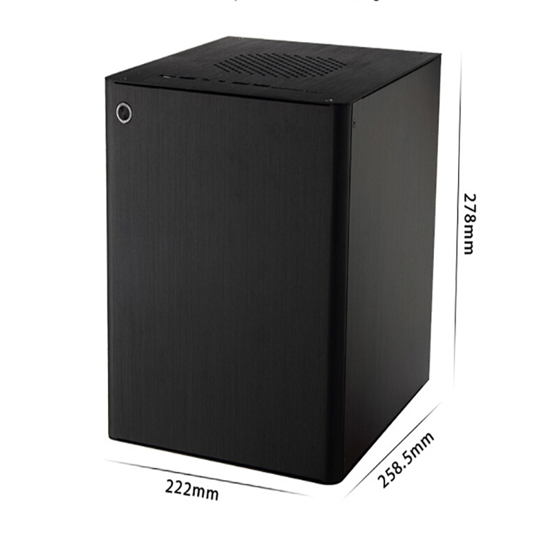 Cube Aluminum Mini ITX and Micro ATX HTPC Case E-D5S With Fan Expansion Slots realan industrial high quality oem mini htpc desktop case e i7 with power supply cd rom expansion slots aluminum black silver