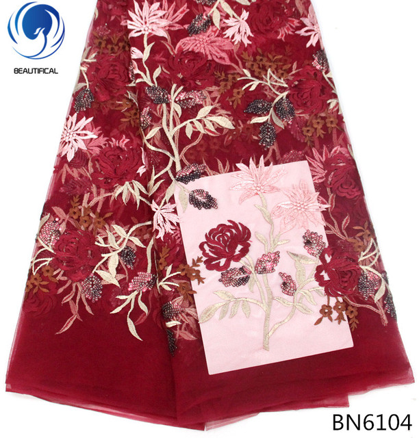 BEAUTIFICAL sequince lace fabric 2018 nigerian lace fabrics red lace fabric flowers pattern for lady wedding hot products BN61