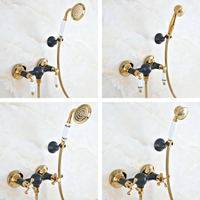 Black Oil Rubbed Bronze Gold Color Brass Wall Mounted Bathroom Telephone Shape Hand Spray Handheld Shower head Faucet Set ana509