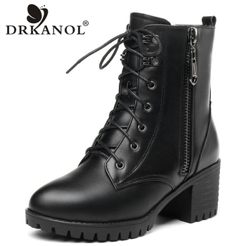 DRKANOL Winter Warm Wool Boots Women Snow Boots Genuine Leather Thick High Heel Mid Calf Non-slip Boots Women Fur Warm Shoes