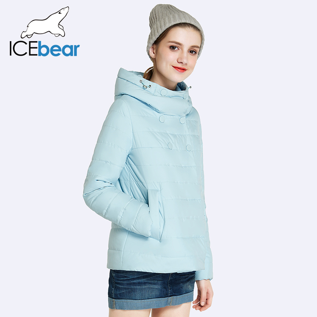ICEbear 2017 Double Breasted Cotton Padded Fashion Warm Parka Outerwear Autumn  Spring Short Womens Coats And Jackets