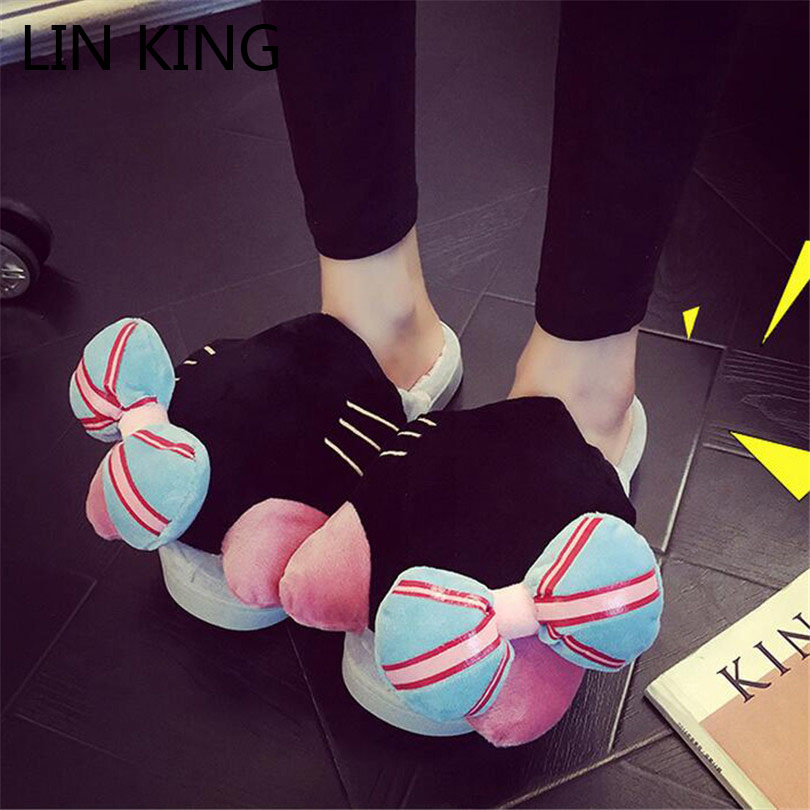 Подробнее о LIN KING Winter Women Slippers Cartoon Hello Kitty Slippers Indoor Home Shoes Warm Adult Shoes Plush Pantufas Bowtie Loafers lin king cute funny panda women indoor slippers cartoon eyes face home pantufas winter household soft sole plush floor shoes