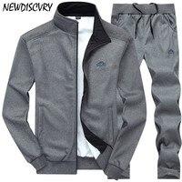 NEWDISCVRY Men Tracksuit Set 2018 Fashion Autumn Men's Jacket+Pant Sweatsuit 2 Piece Set Male Sportswear Suit Man Clothing