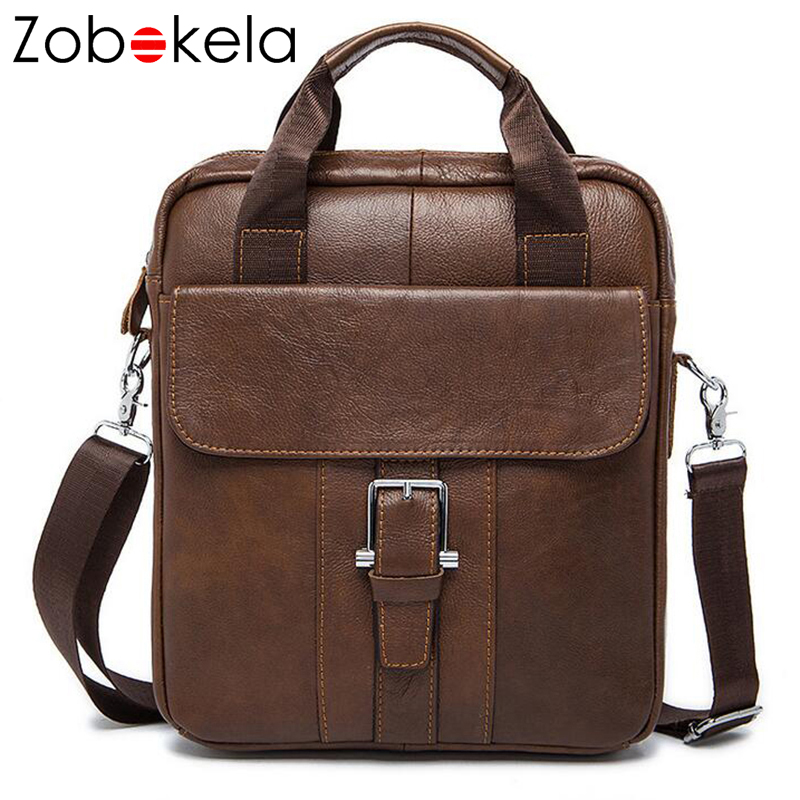 Zobokela Genuine leather bag men messenger bags Handbag brand men Business Vintage Cowhide Men's Briefcase Travel Bags Tote Bag