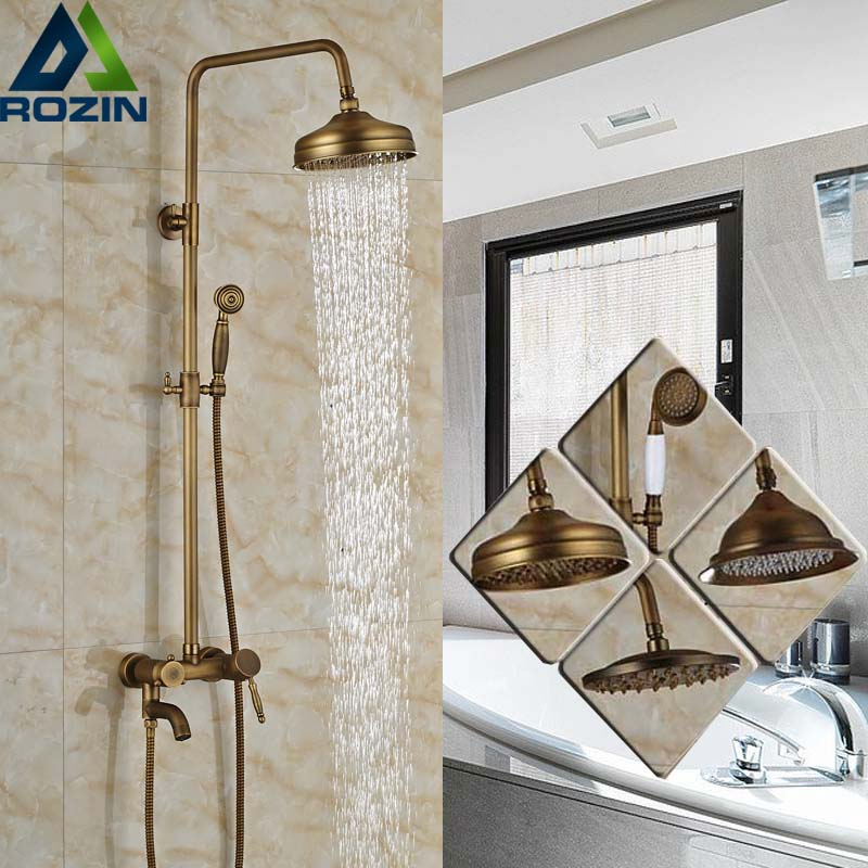 Brass Antique 8 Rainfall Shower Set Mixer Faucet Single Handle Bathtub Shower Faucet with Handshower brass chrome single handle 3 ways mixer shower faucet wall mounted 8 rainfall bathtub shower complete set handshower