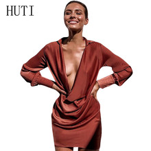 HUTI Women Long Sleeve Deep V-neck Satin Short Dress Elegant Party Stretch Mini Dress Vestidos Sexy Hollow Out Robe Ete Femme цена и фото