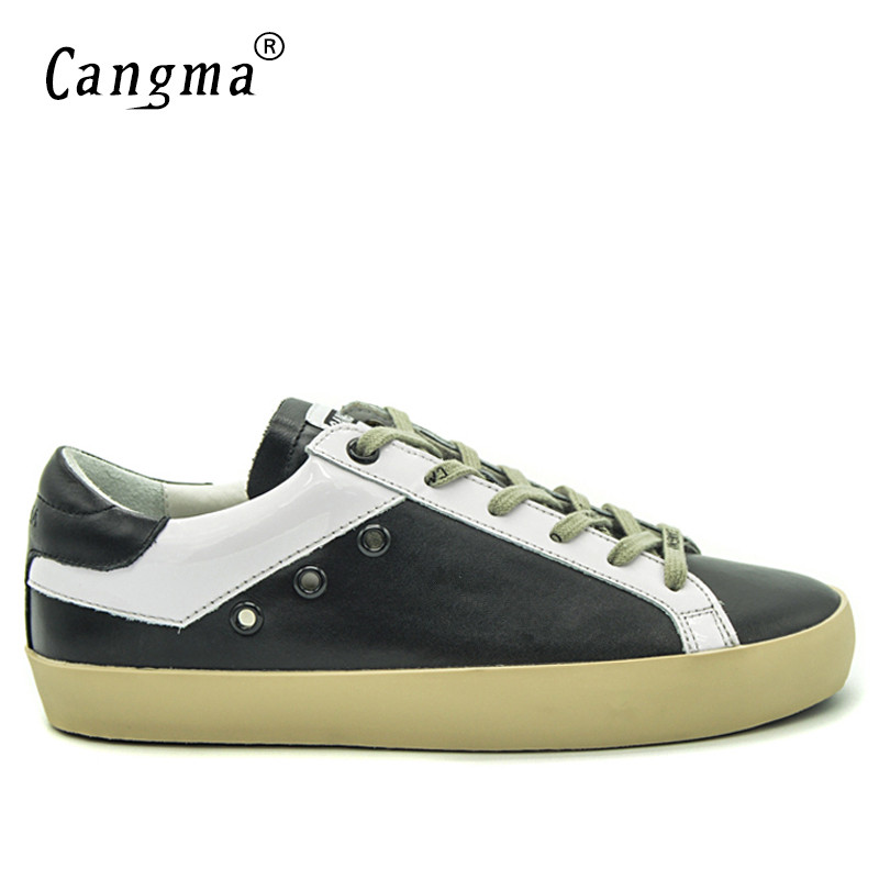 CANGMA Mens Trainers Black And White Sneakers Men Shoes Casual Man Retro Footwear Leather Men s