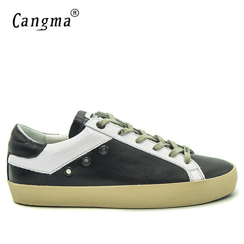 Ayakk.'ten Erkek Rahat Ayakkabılar'de CANGMA Erkek Eğitmenler Siyah Ve Beyaz Sneakers erkek ayakkabısı Rahat Adam Retro Ayakkabı Deri erkek ayakkabıları Moda Erkek Ayakkabı'da  Grup 1