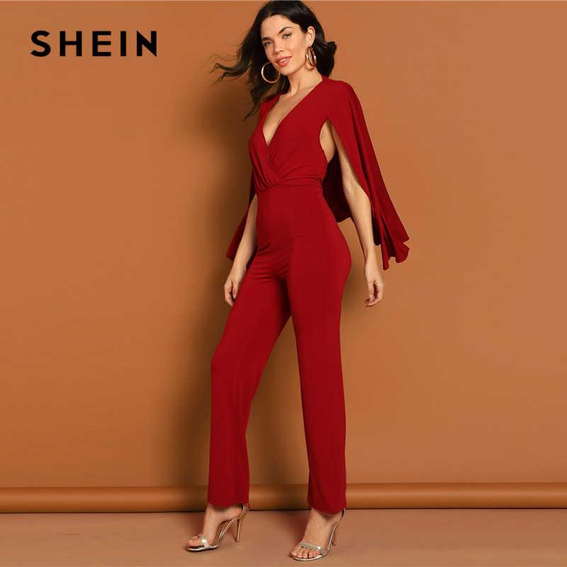 c8d320a22c ... SHEIN Burgundy Surplice Neck Straight Leg Cape Jumpsuit 2019 Women  Elegant Spring Highstreet V neck Long ...