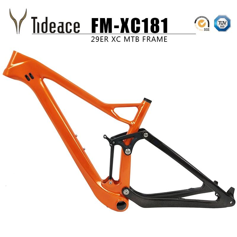 Tideace plein twinloc suspension XC carbone VTT cadre disque 29er vtt carbone 29er/27.5er plus boost suspension cadre