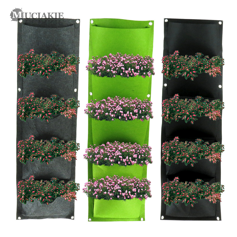 MUCIAKIE Hanging Wall Vertical Grow Bags 5/9/25/36/49/56/64 Small Pockets Indoor Yard Garden Bonsai Plant Bags Home Planter Bags