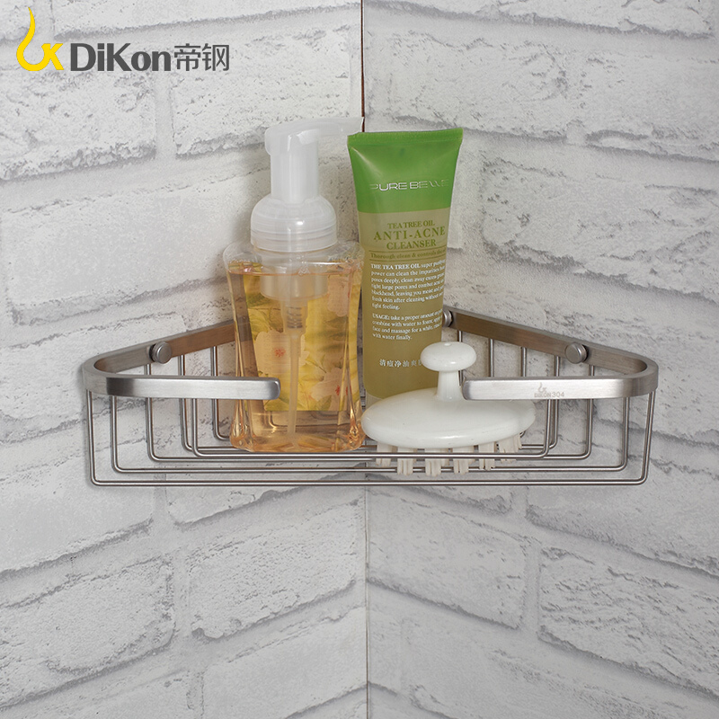 DiKon GL17 Bathroom Shelf Basket 304 Stainless Steel Brushed Bathroom Accessories Single Bowl One Tier Angle Basket Shelves 304 stainless steel 280 140 500mm bathroom shelf bathroom products bathroom accessories 29016