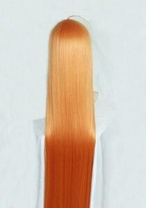 Image 4 - Perruque de Costume de Cosplay, perruque + piste + capuchon, lisse et longue de 100cm, P5 Persona5 Futaba Sakura, Orange résistante à la chaleur