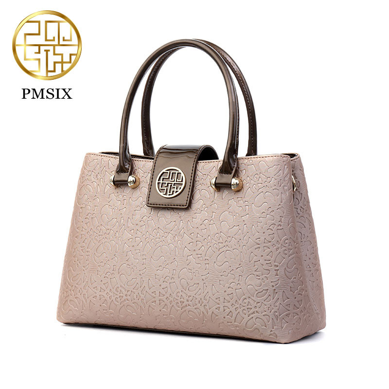 PMSIX Luxury Women Handbags Embossed Leather Casual Tote Bag for Women PU Patent Leather Shoulder Bags ladies' Purse