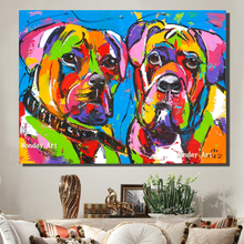 Large handpainted bulldog animal Canvas oil Painting Living Room Home Decoration dog Oil Wall art picture kids room