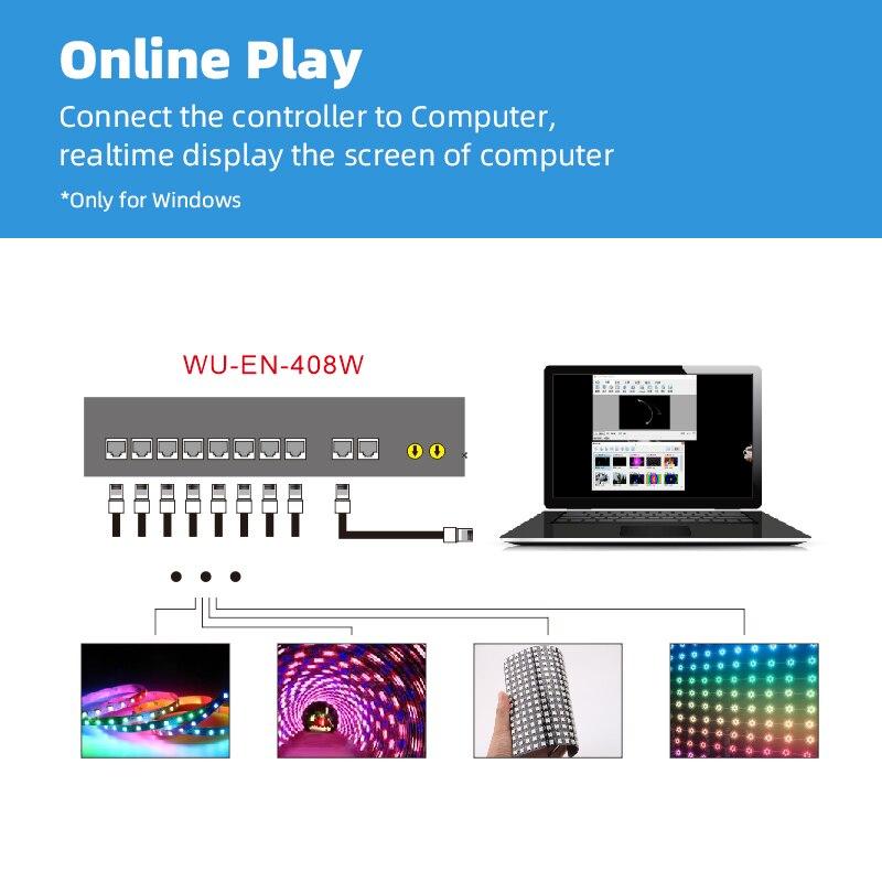 EN 408W Computer online controle digitale adresseerbare strip licht controller, 1024 pixel * 8 CH, muziek controle, aaneenschakeling - 2