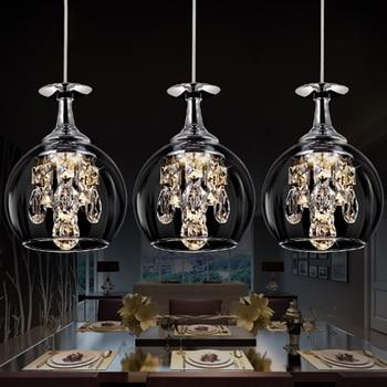 LED Crystal pendant light fixtures restaurant bar dining lampshade creative personality modern minimalist three single head
