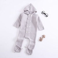 Autumn Winter Kids Knitted Romper Hoodie Solid Gray Colour Toddler Baby Girls Boys Jumpsuit Boutique Infant Costume