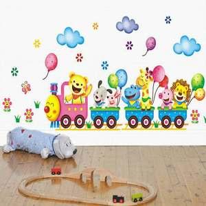 Image 1 - קריקטורה בעלי חיים ספארי על רכבת נשלף משתלת תינוק ילדים מדבקות הקיר ויניל מדבקות