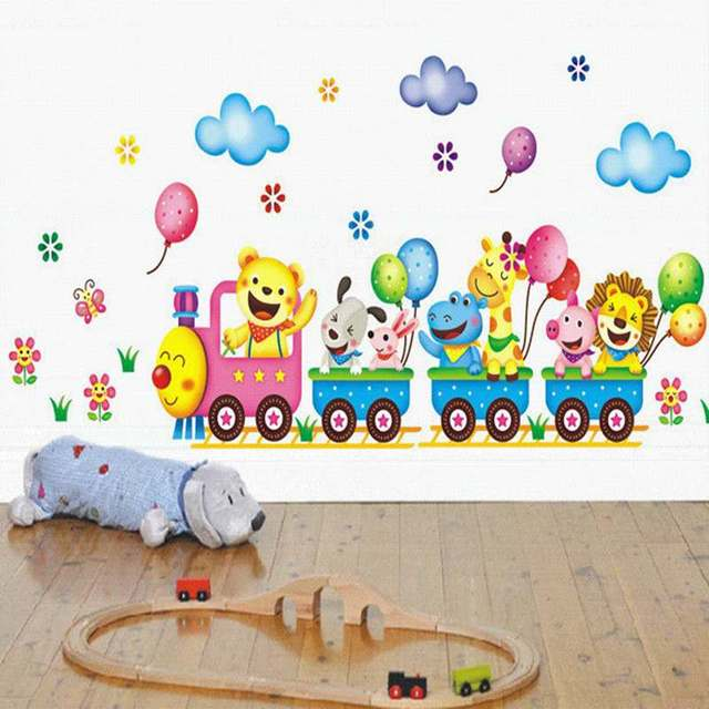 Cartoon Safari Animals On Train Removable Nursery Baby Kids Wall Stickers Vinyl Decal