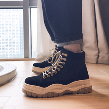 Купить с кэшбэком Men Boots Cotton Fabric Plush Boots Men Shoes Winter Casual Shoes Warm Lace Up High Top Fashion Men Sneakers Cowboy Martin Boots