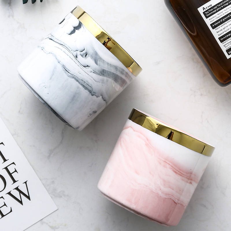 Gold Inlay Marble Pattern Pink Grey Makeup Brushes Holder Storage For Bathroom Vanity Kitchen Home Decor Ceramic Pen Container in Storage Bottles Jars from Home Garden