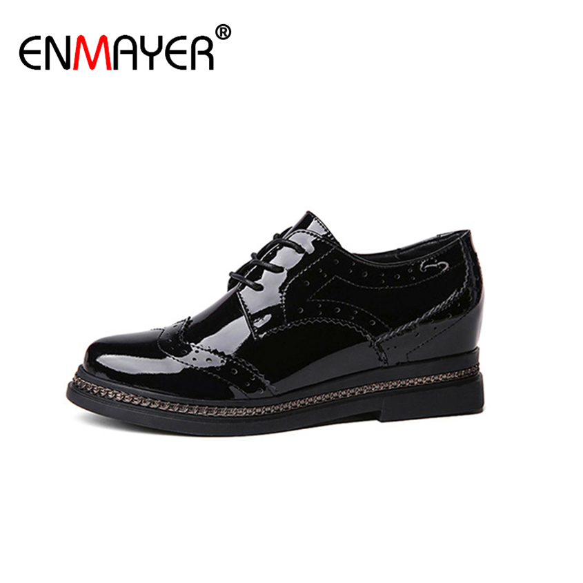 ФОТО ENMAYER Genuie Leather Shoes for Women Leisure Shoes Solid Spring/Autumn Lace Round Toe Platform Black White Flats for Women