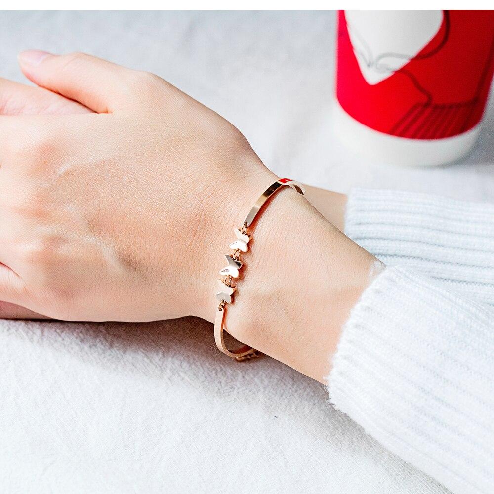 Coreano moda temperamento jóias de borboleta do aço inoxidável Titanium aço Pulseira senhora menina mel nobre acessórios - 3